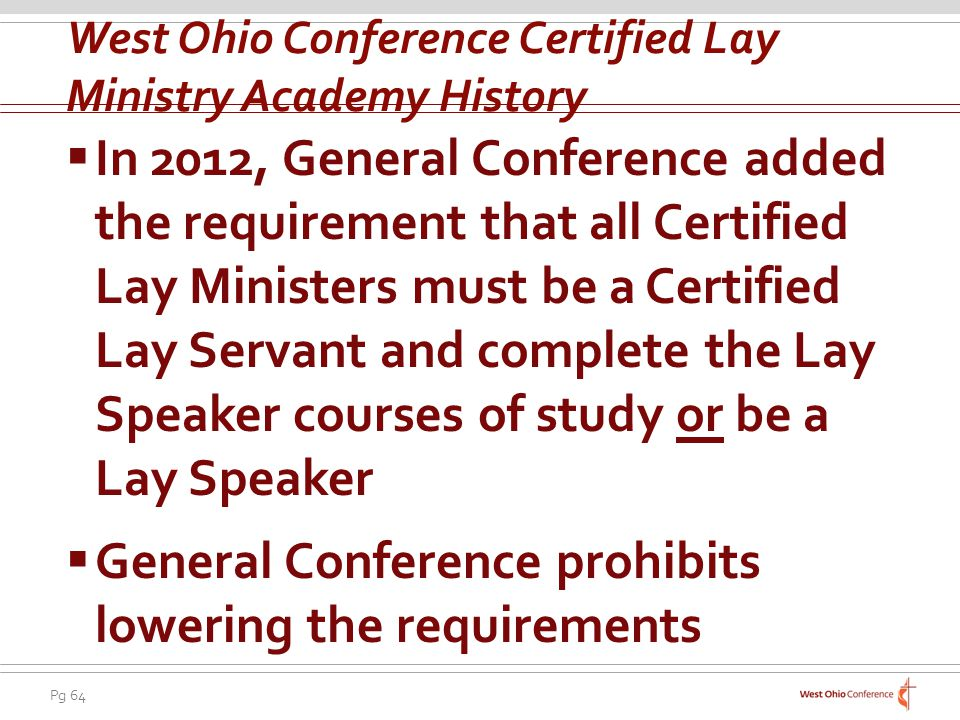 West Ohio Conference Certified Lay Ministry Academy History