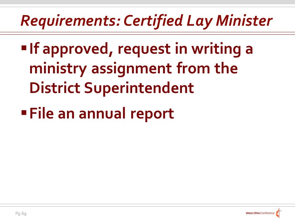 Requirements: Certified Lay Minister