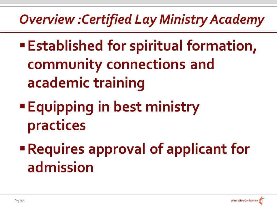 Overview :Certified Lay Ministry Academy