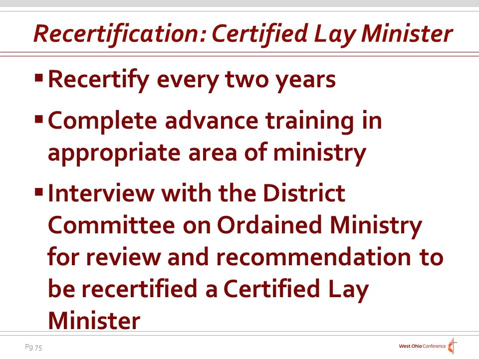 Recertification: Certified Lay Minister