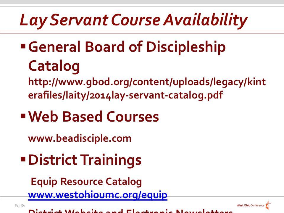 Lay Servant Course Availability