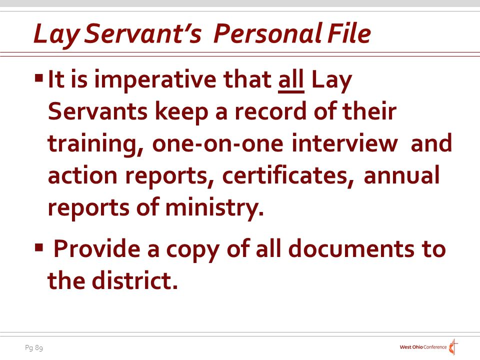 Lay Servant's Personal File