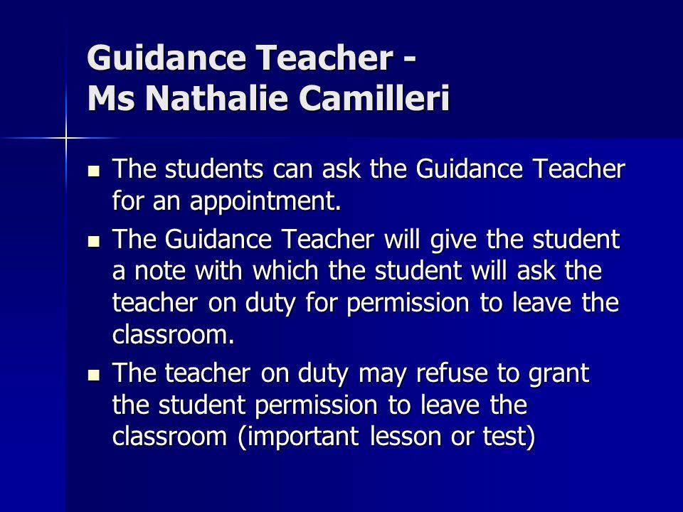 Guidance Teacher - Ms Nathalie Camilleri