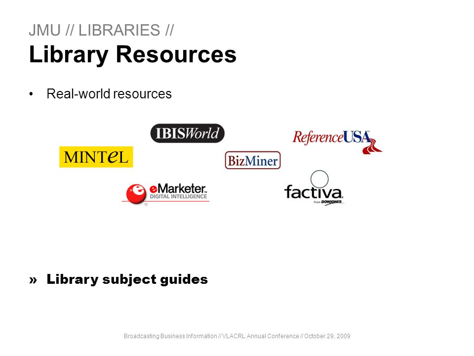 JMU // LIBRARIES // Library Resources