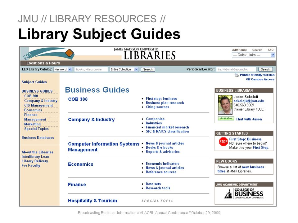 JMU // LIBRARY RESOURCES // Library Subject Guides
