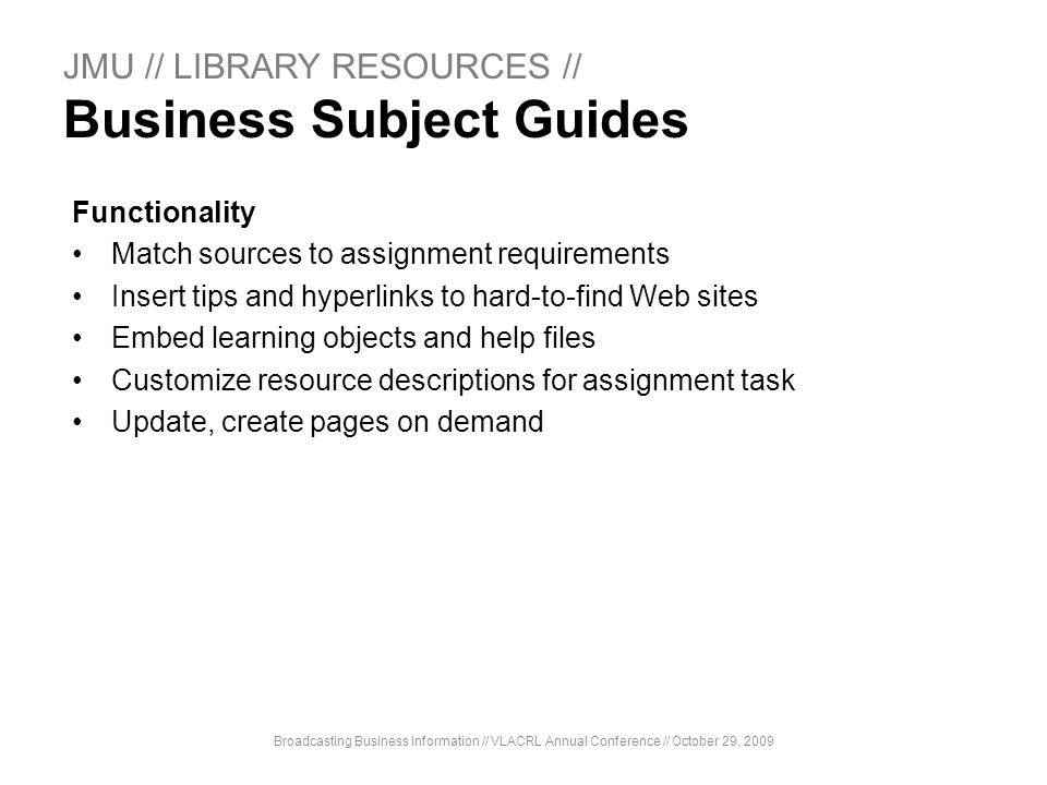 JMU // LIBRARY RESOURCES // Business Subject Guides