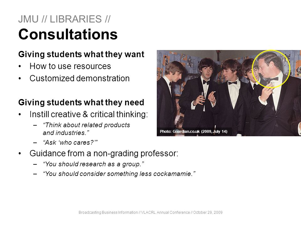 JMU // LIBRARIES // Consultations
