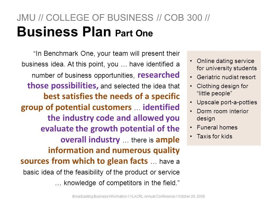 JMU // COLLEGE OF BUSINESS // COB 300 // Business Plan Part One