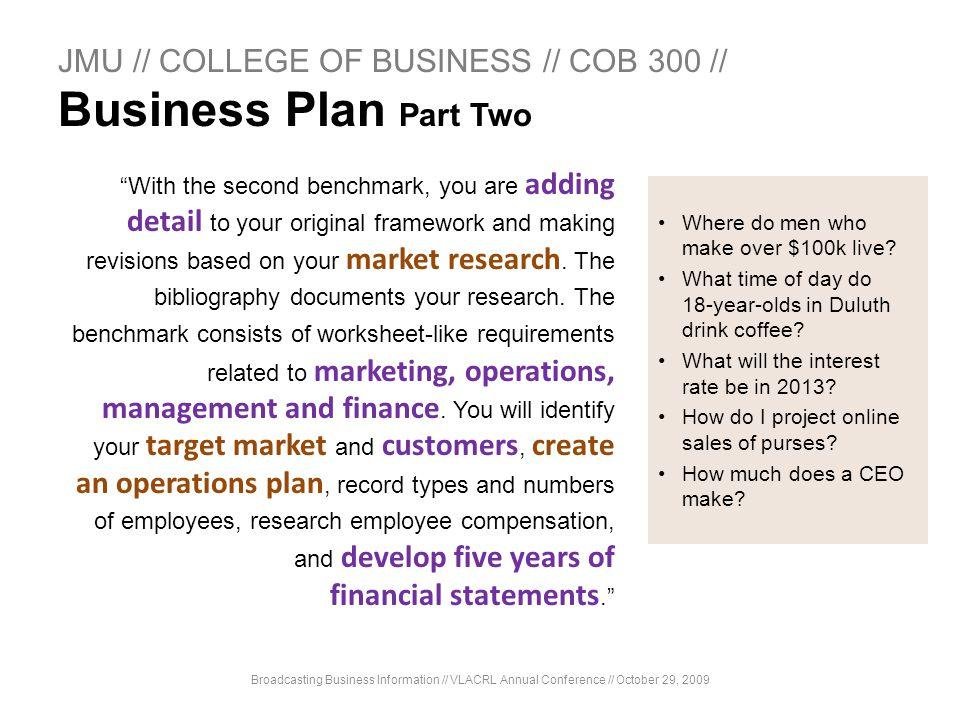 JMU // COLLEGE OF BUSINESS // COB 300 // Business Plan Part Two