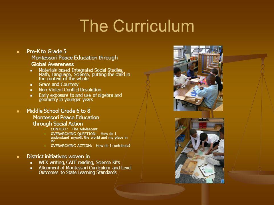 The Curriculum Pre-K to Grade 5 Montessori Peace Education through