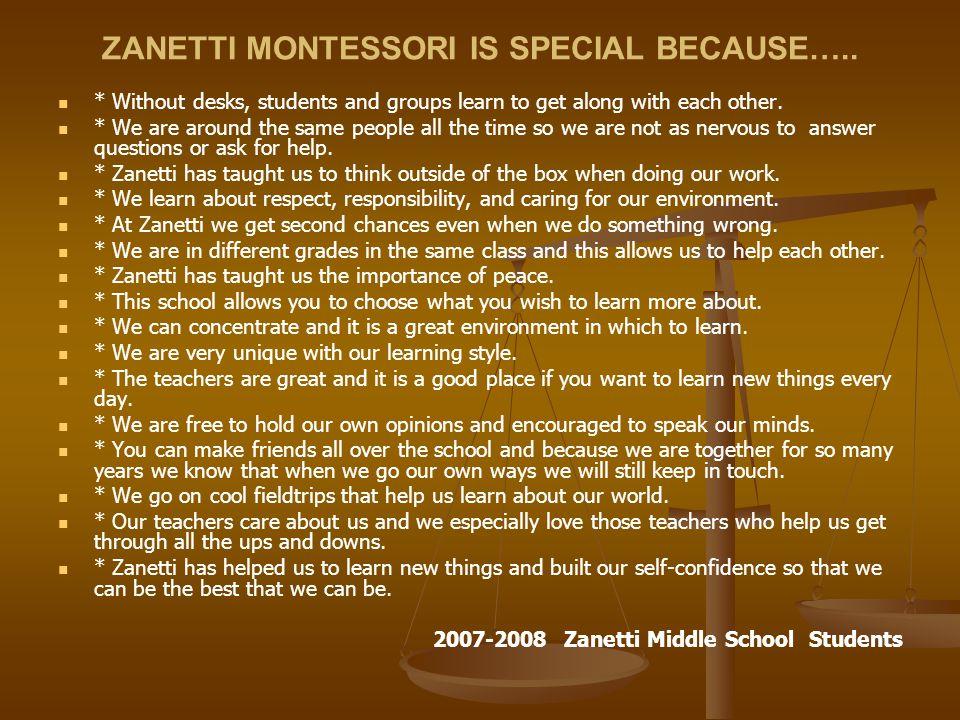 ZANETTI MONTESSORI IS SPECIAL BECAUSE…..