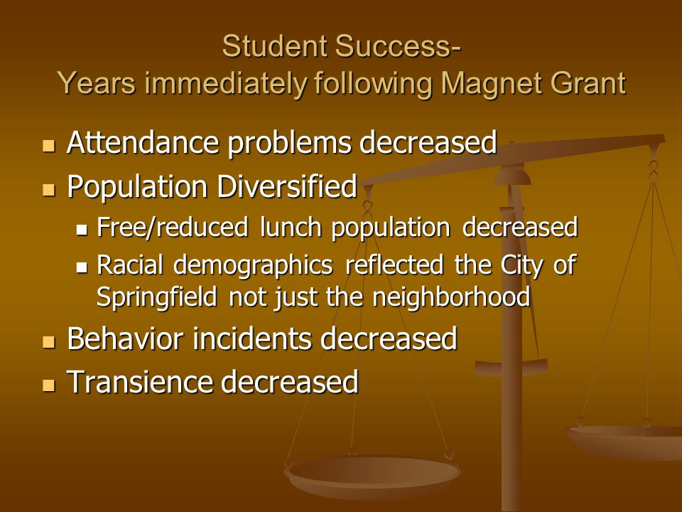 Student Success- Years immediately following Magnet Grant