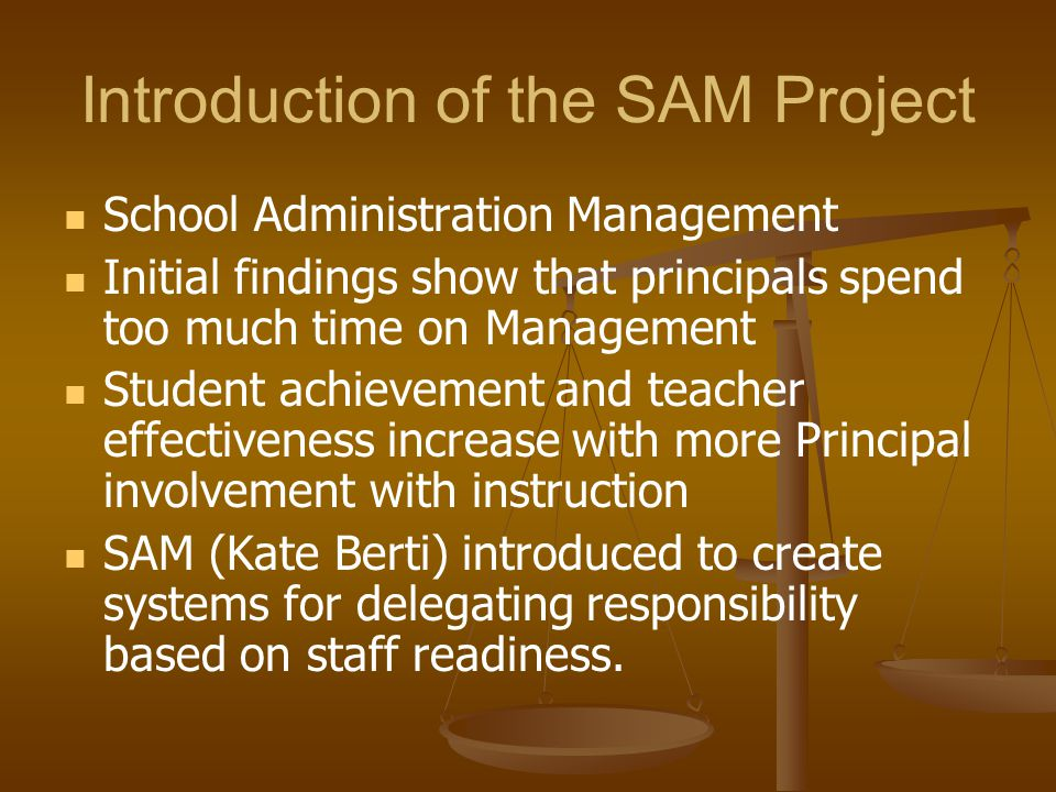 Introduction of the SAM Project