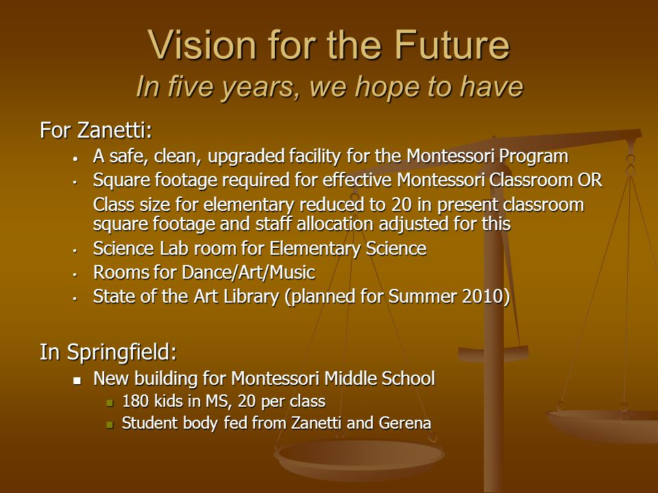 Vision for the Future In five years, we hope to have