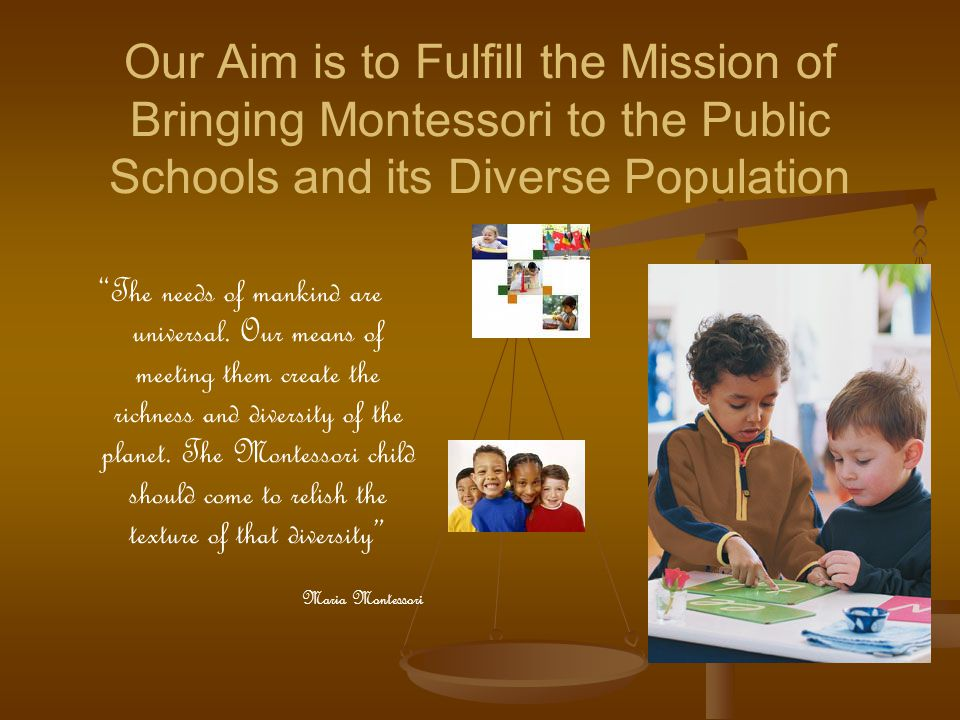 Our Aim is to Fulfill the Mission of Bringing Montessori to the Public Schools and its Diverse Population