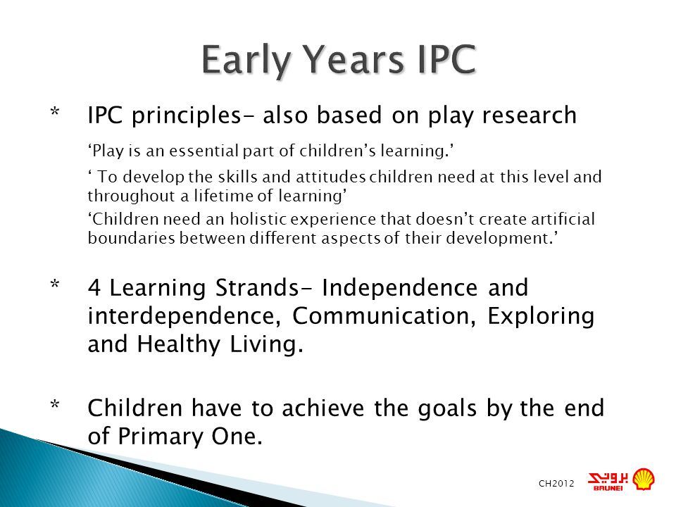 Early Years IPC 'Play is an essential part of children's learning.'