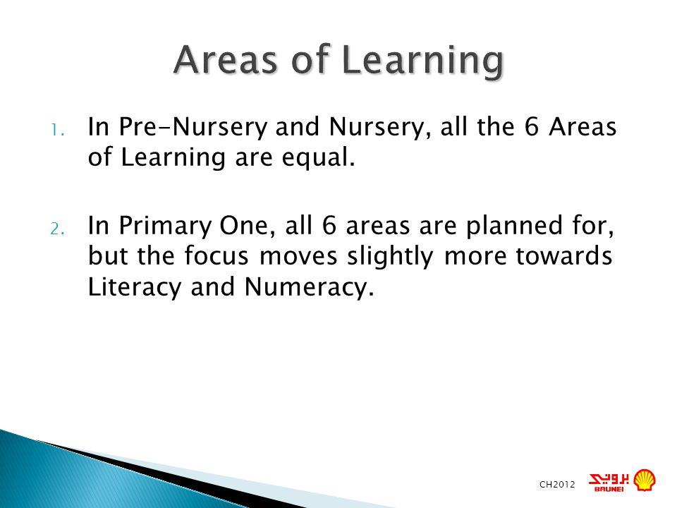 Areas of Learning In Pre-Nursery and Nursery, all the 6 Areas of Learning are equal.