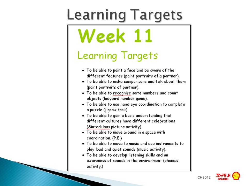 Learning Targets CH2012
