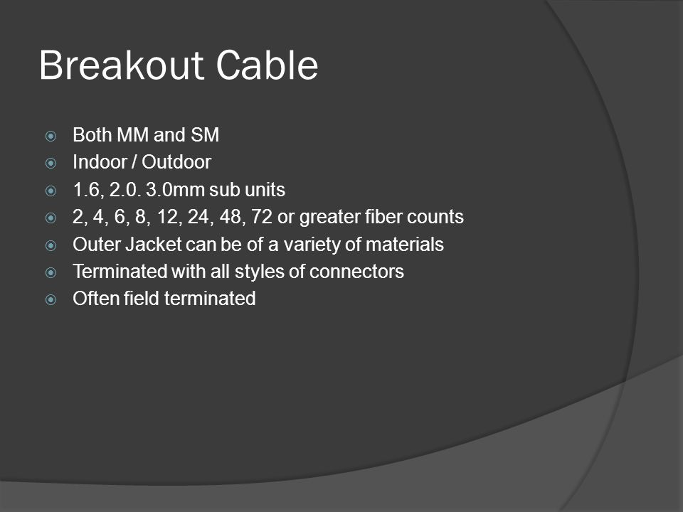 Breakout Cable Both MM and SM Indoor / Outdoor