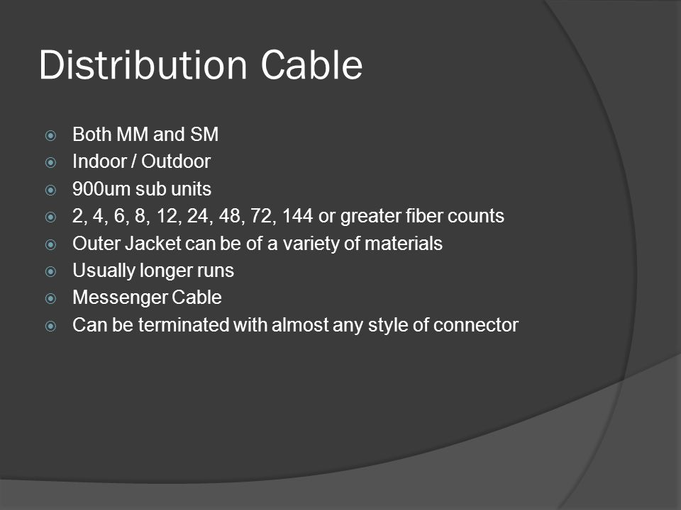 Distribution Cable Both MM and SM Indoor / Outdoor 900um sub units
