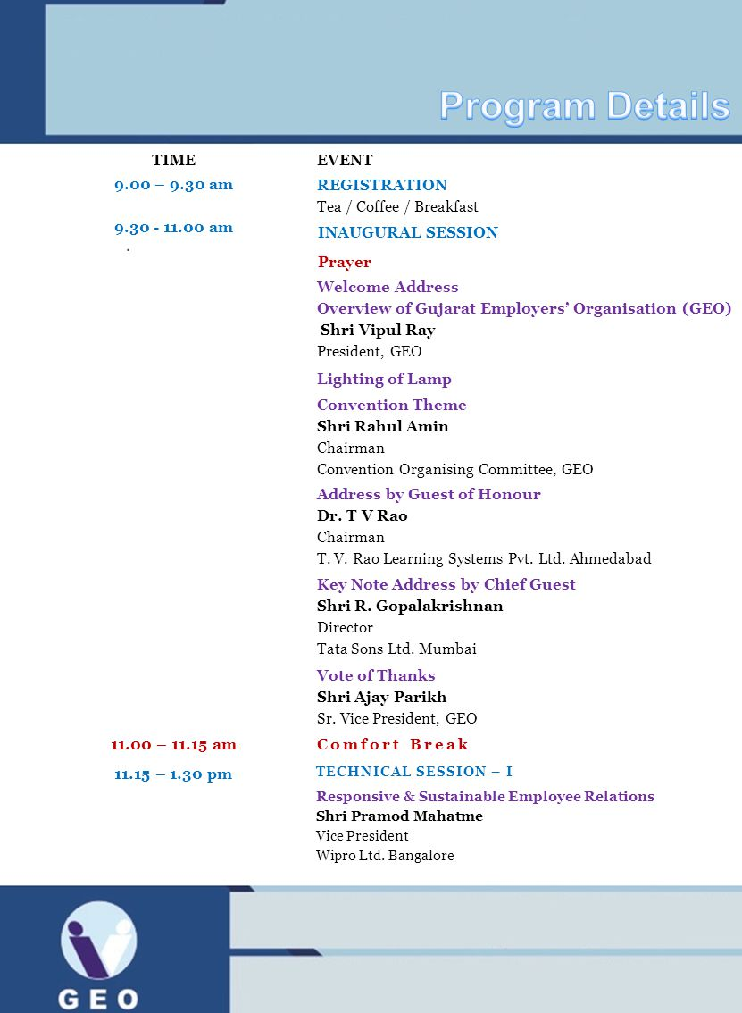 Program Details TIME EVENT 9.00 – 9.30 am Registration