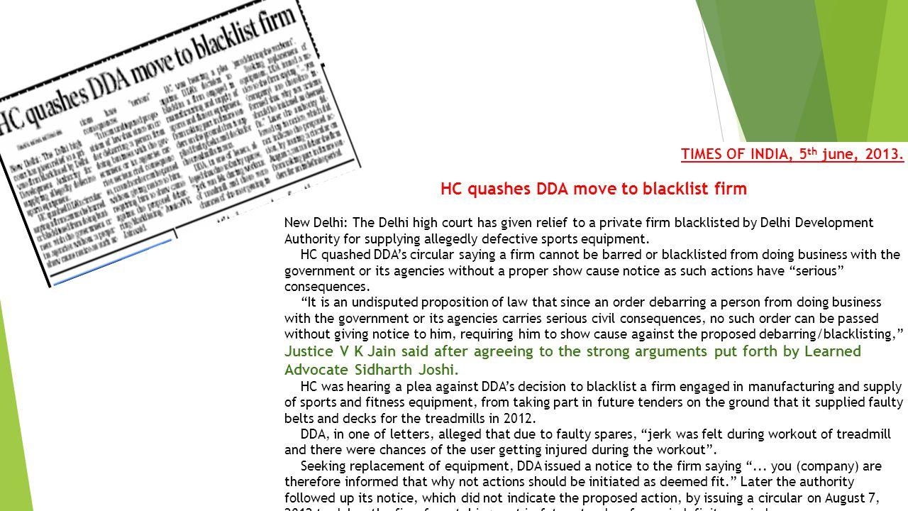 HC quashes DDA move to blacklist firm