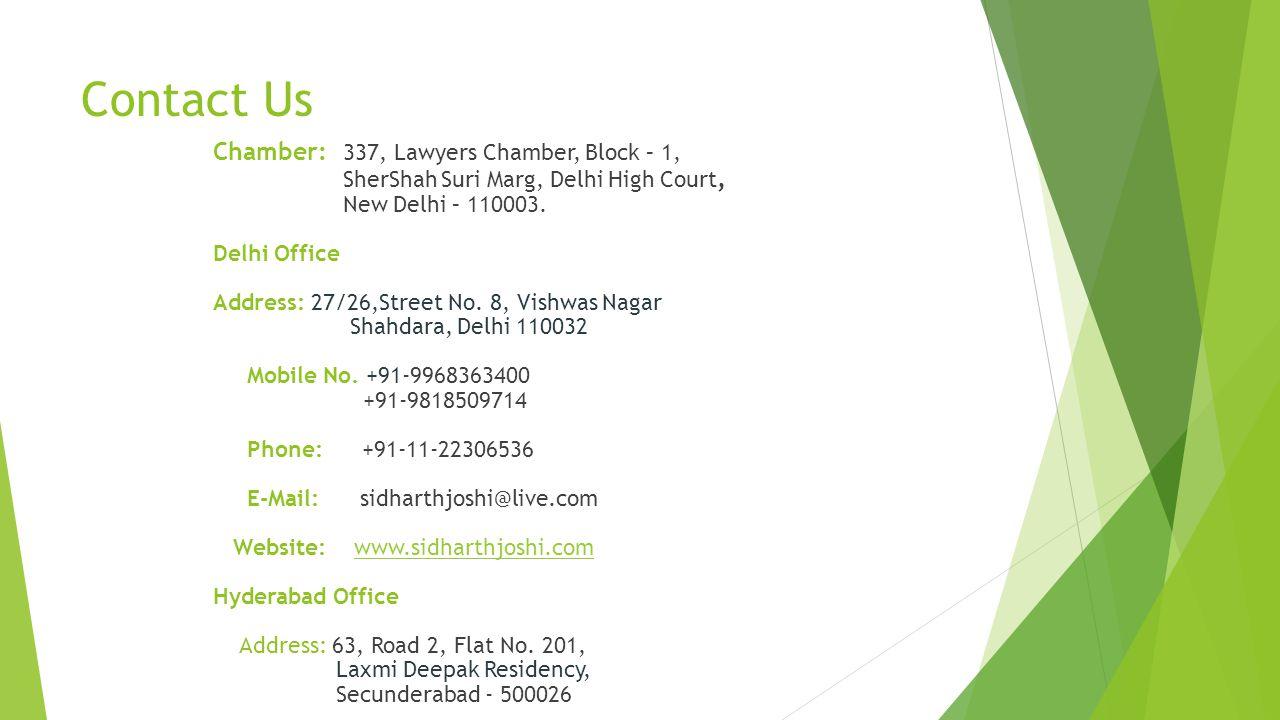 Contact Us Chamber: 337, Lawyers Chamber, Block – 1,