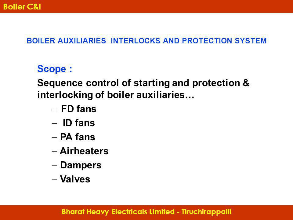 BOILER AUXILIARIES INTERLOCKS AND PROTECTION SYSTEM