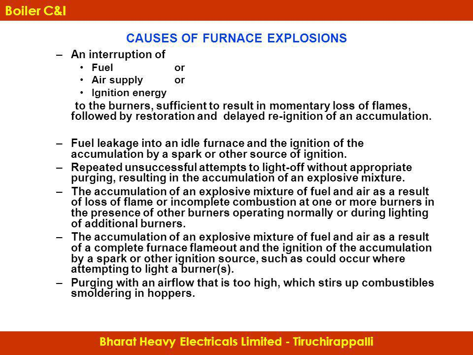 CAUSES OF FURNACE EXPLOSIONS