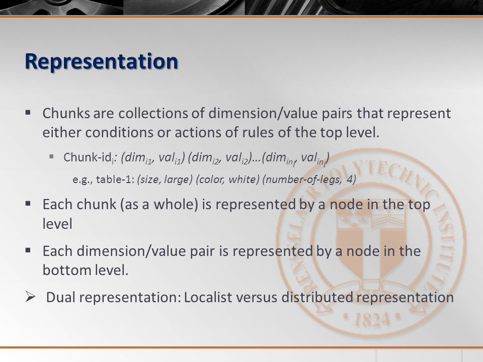 Representation Chunks are collections of dimension/value pairs that represent either conditions or actions of rules of the top level.