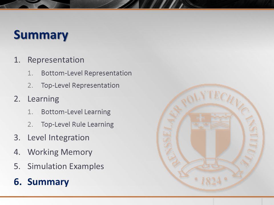 Summary Summary Representation Learning Level Integration