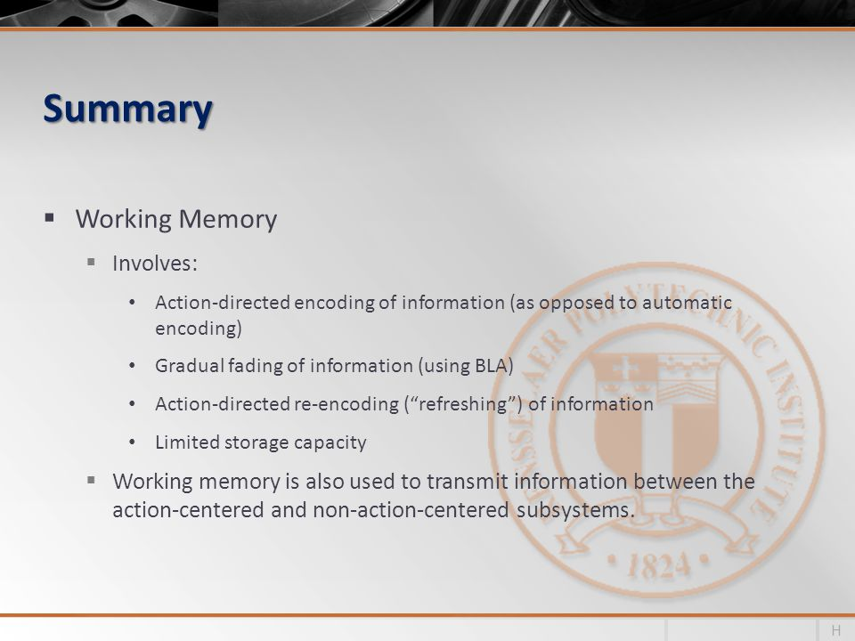 Summary Working Memory Involves: