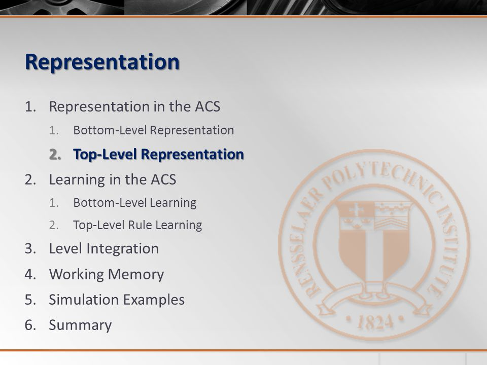 Representation Representation in the ACS Top-Level Representation