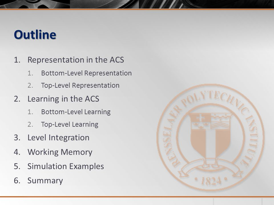 Outline Representation in the ACS Learning in the ACS