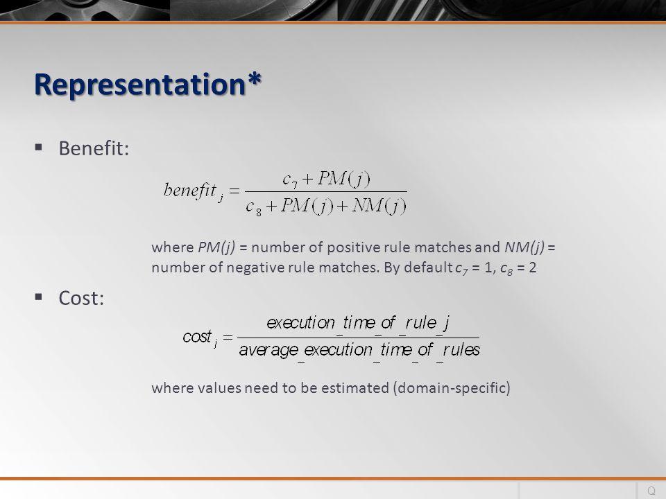Representation* Benefit: Cost: