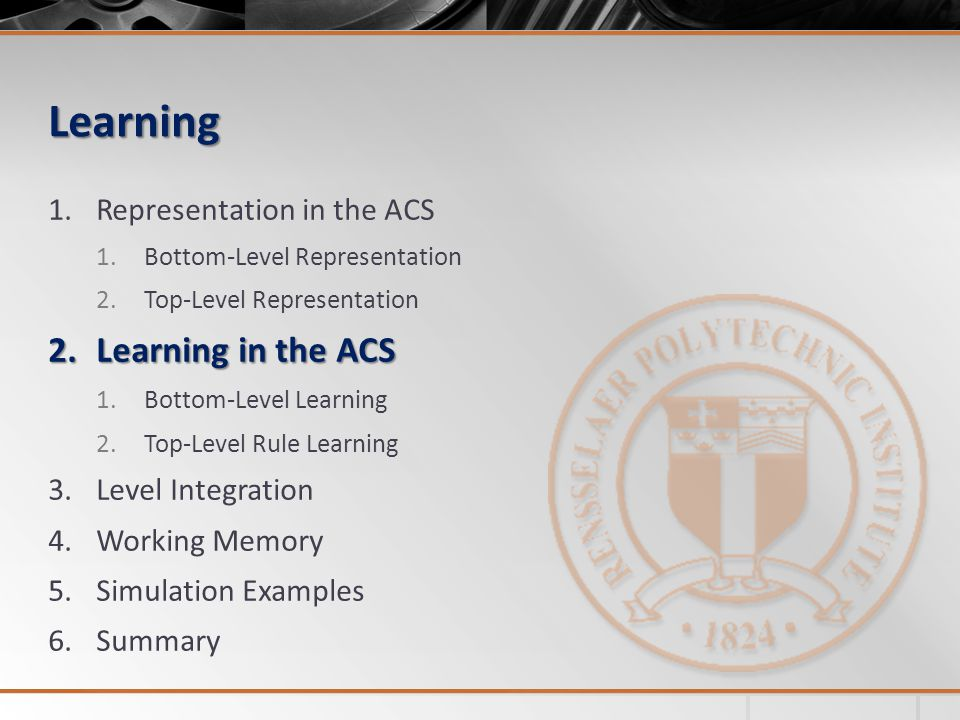 Learning Learning in the ACS Representation in the ACS