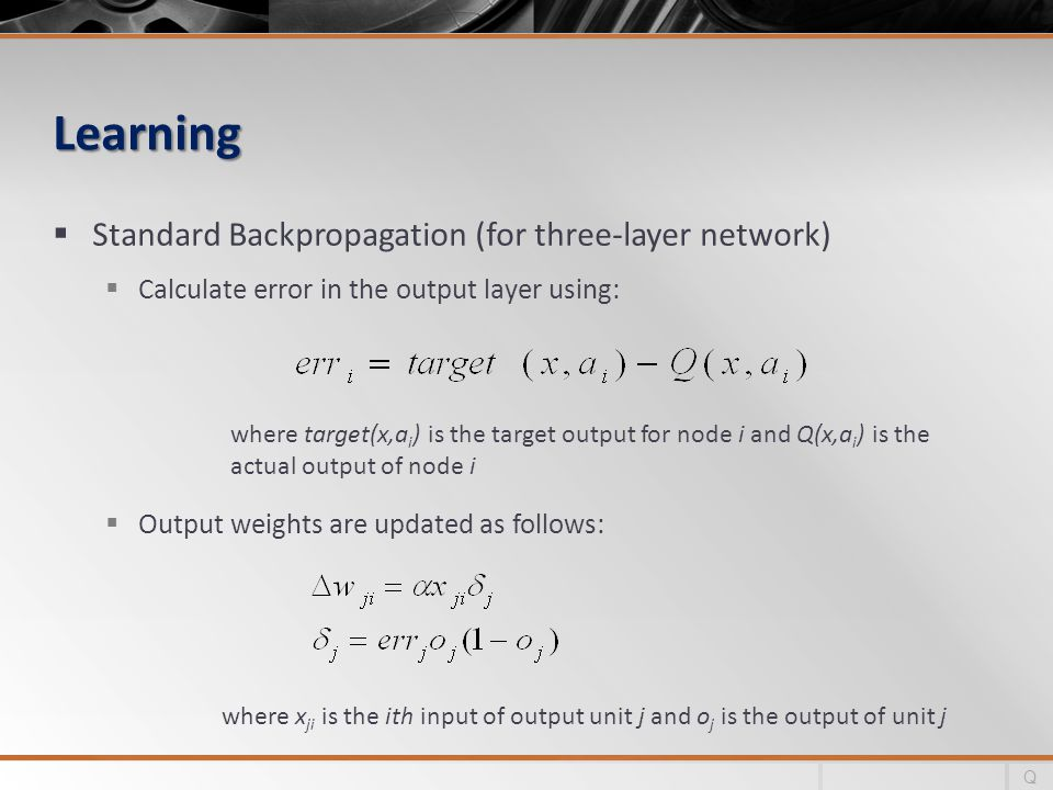 Learning Standard Backpropagation (for three-layer network)