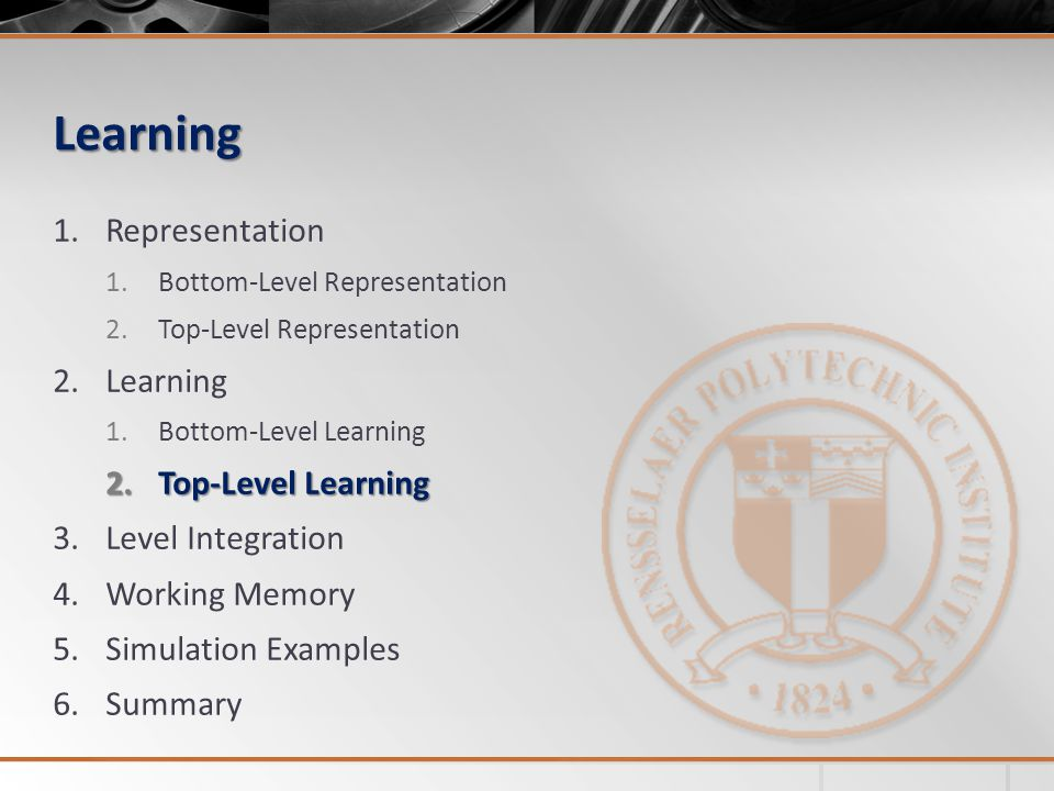 Learning Representation Learning Top-Level Learning Level Integration