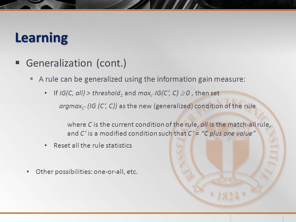 Learning Generalization (cont.)