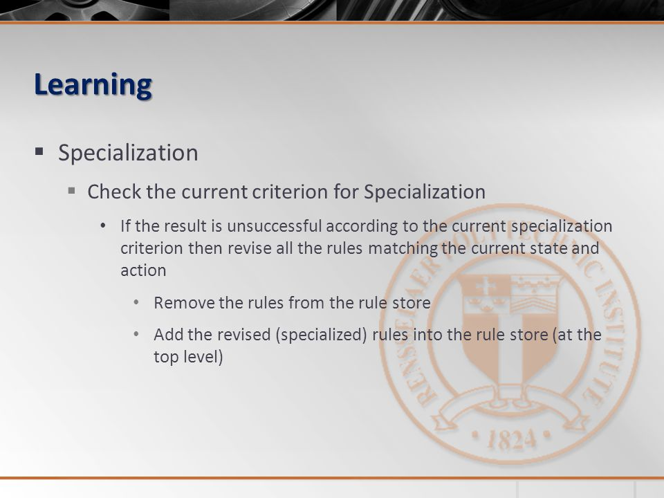 Learning Specialization Check the current criterion for Specialization