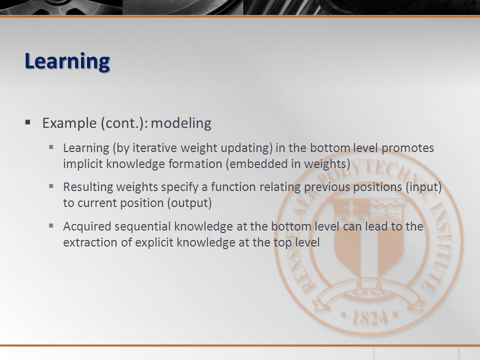 Learning Example (cont.): modeling
