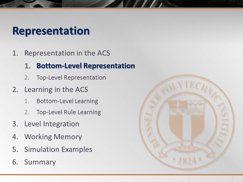 Representation Representation in the ACS Bottom-Level Representation