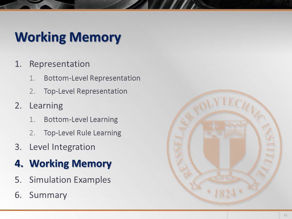 Working Memory Working Memory Representation Learning