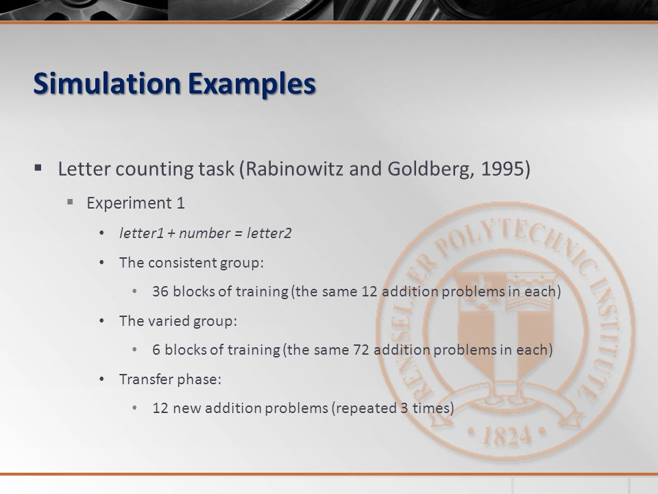 Simulation Examples Letter counting task (Rabinowitz and Goldberg, 1995) Experiment 1. letter1 + number = letter2.