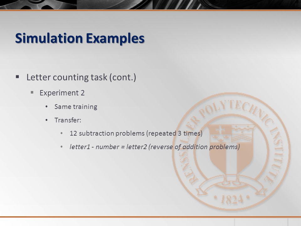 Simulation Examples Letter counting task (cont.) Experiment 2