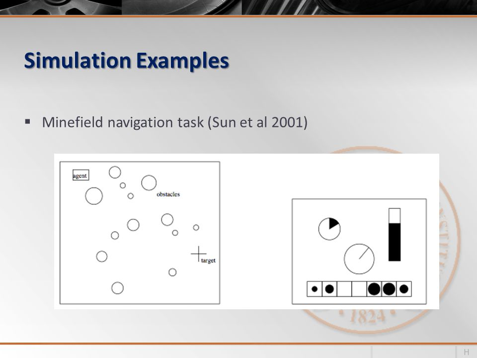 Simulation Examples Minefield navigation task (Sun et al 2001)