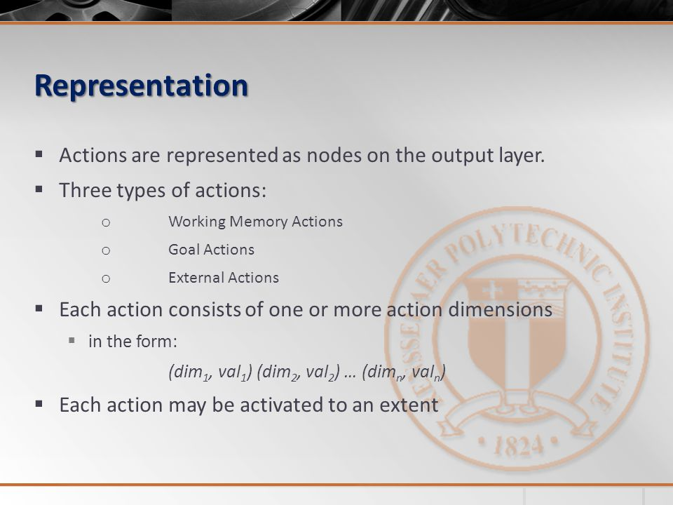 Representation Actions are represented as nodes on the output layer.