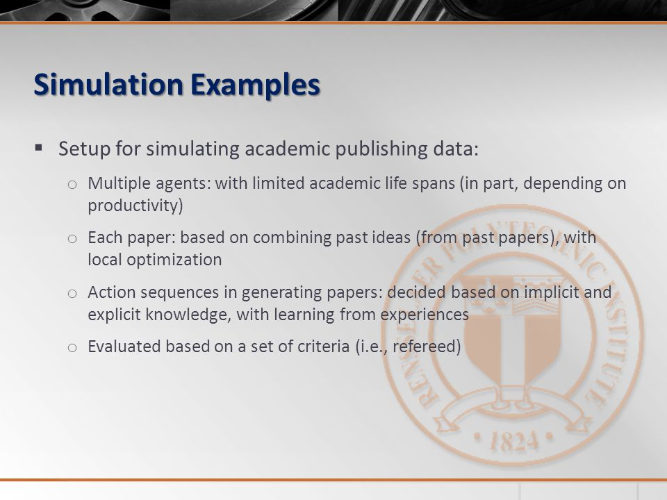 Simulation Examples Setup for simulating academic publishing data: