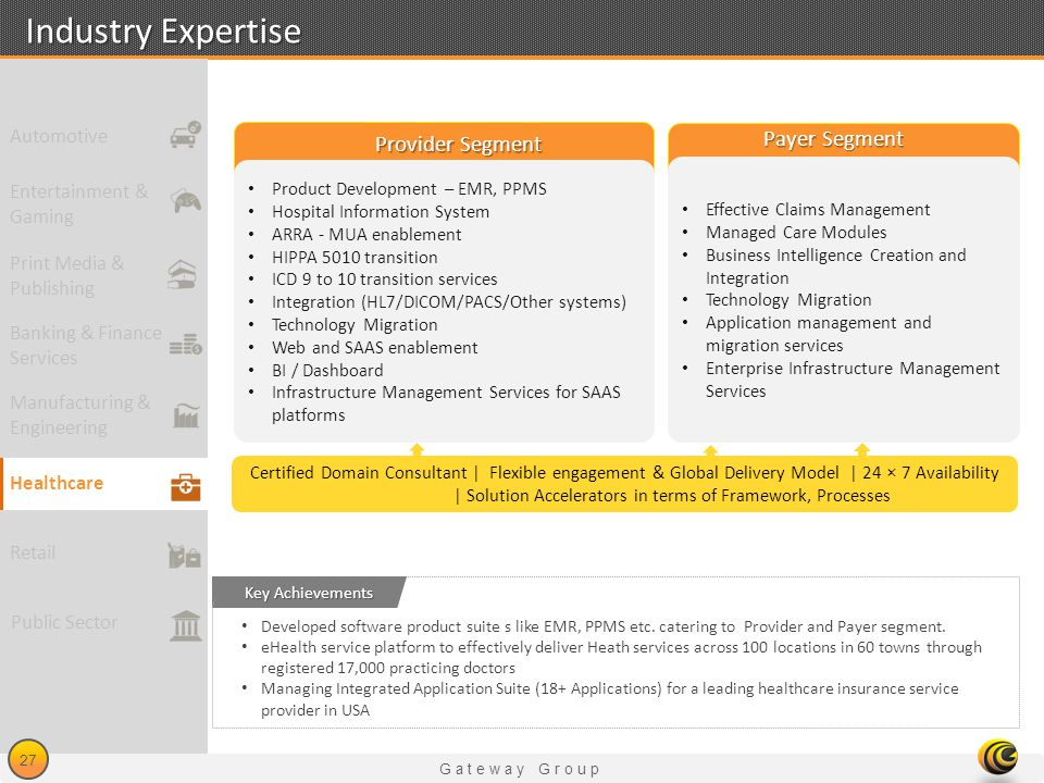 Industry Expertise Payer Segment Provider Segment Automotive