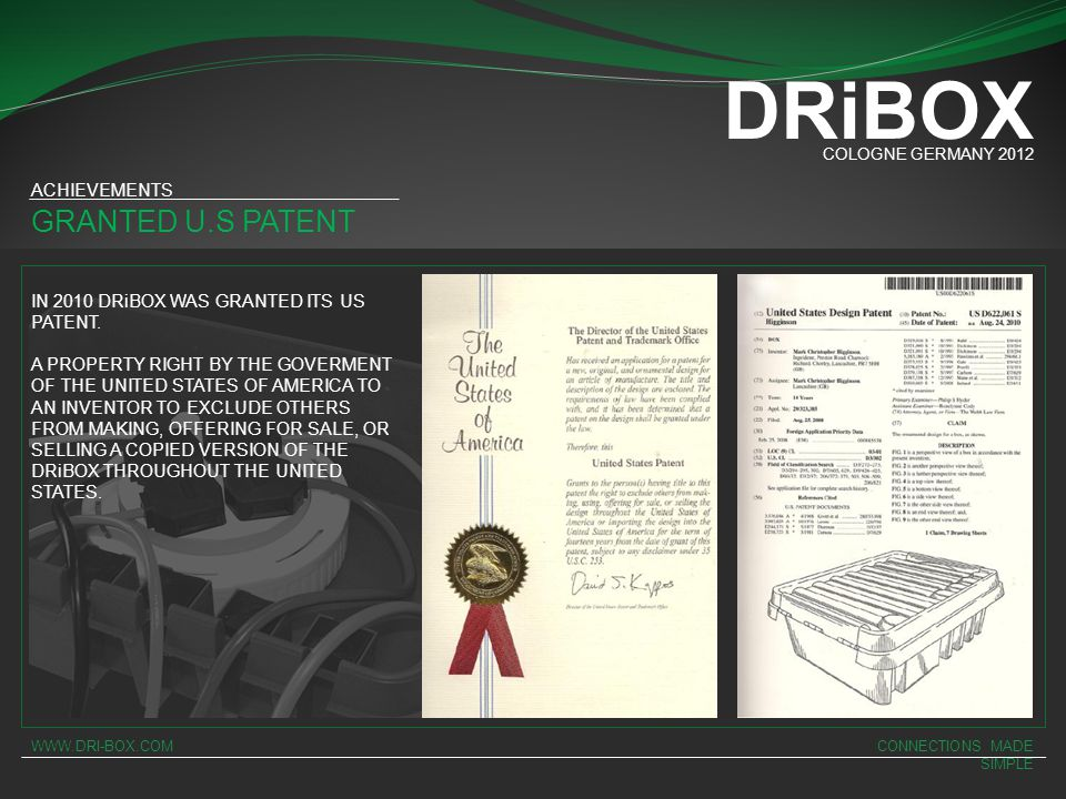 DRiBOX GRANTED U.S PATENT ACHIEVEMENTS